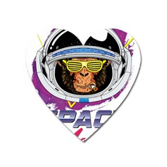 Neon Spacemonkey Heart Magnet by goljakoff