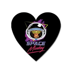 Spacemonkey New Retro Wave Heart Magnet by goljakoff
