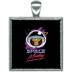 Spacemonkey New Retro Wave Square Necklace by goljakoff