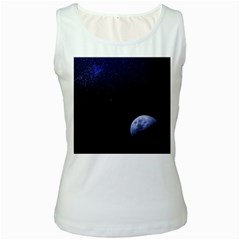 Blue Moon Women s White Tank Top by goljakoff