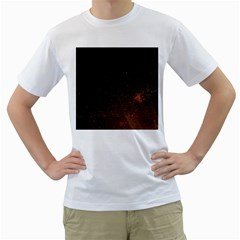 Orange Space Men s T Shirt (white) (two Sided)