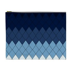 Blue Chevrons Cosmetic Bag (xl) by goljakoff