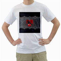 Wonderful Crow On A Heart Men s T-shirt (white) (two Sided) by FantasyWorld7
