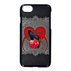 Wonderful Crow On A Heart Iphone 8 Seamless Case (black) by FantasyWorld7