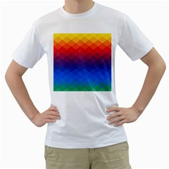 Rainbow Rhombs Men s T Shirt (white) (two Sided) by goljakoff