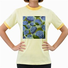Hydrangea  Women s Fitted Ringer T-shirt by Sobalvarro