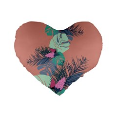 Leaves Standard 16  Premium Flano Heart Shape Cushions by Sobalvarro