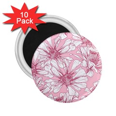 Pink Flowers 2 25  Magnets (10 Pack)  by Sobalvarro