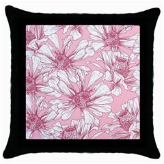 Pink Flowers Throw Pillow Case (black) by Sobalvarro