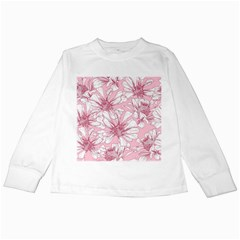Pink Flowers Kids Long Sleeve T-shirts by Sobalvarro