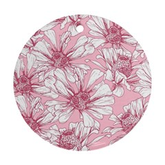 Pink Flowers Round Ornament (two Sides) by Sobalvarro