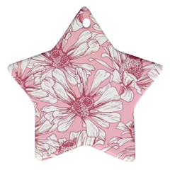 Pink Flowers Star Ornament (two Sides) by Sobalvarro