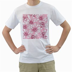 Pink Flowers Men s T-shirt (white)  by Sobalvarro