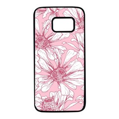 Pink Flowers Samsung Galaxy S7 Black Seamless Case by Sobalvarro