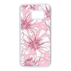 Pink Flowers Samsung Galaxy S7 White Seamless Case by Sobalvarro