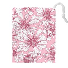 Pink Flowers Drawstring Pouch (3xl) by Sobalvarro