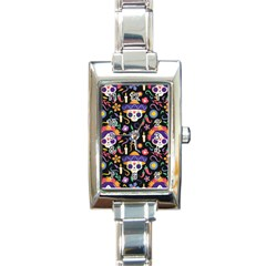 Dia De Los Muertos Rectangle Italian Charm Watch by Sobalvarro