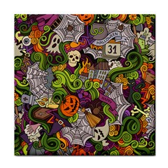Halloween Doodle Vector Seamless Pattern Tile Coaster by Sobalvarro
