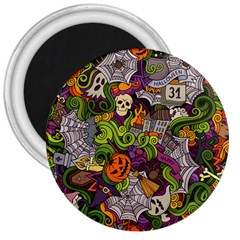Halloween Doodle Vector Seamless Pattern 3  Magnets by Sobalvarro