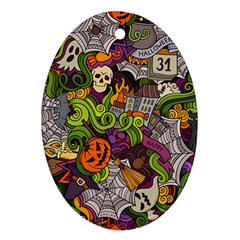 Halloween Doodle Vector Seamless Pattern Ornament (oval) by Sobalvarro
