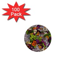 Halloween Doodle Vector Seamless Pattern 1  Mini Buttons (100 Pack)  by Sobalvarro