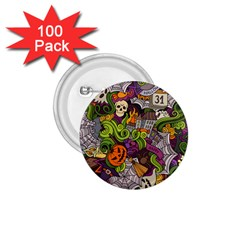 Halloween Doodle Vector Seamless Pattern 1 75  Buttons (100 Pack)  by Sobalvarro