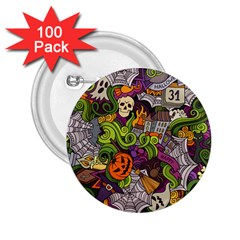 Halloween Doodle Vector Seamless Pattern 2 25  Buttons (100 Pack)  by Sobalvarro