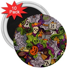 Halloween Doodle Vector Seamless Pattern 3  Magnets (10 Pack)  by Sobalvarro