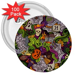 Halloween Doodle Vector Seamless Pattern 3  Buttons (100 Pack)  by Sobalvarro