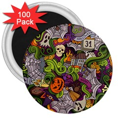 Halloween Doodle Vector Seamless Pattern 3  Magnets (100 Pack) by Sobalvarro