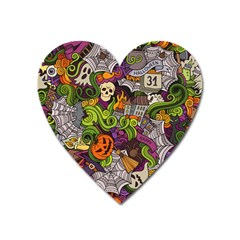 Halloween Doodle Vector Seamless Pattern Heart Magnet by Sobalvarro