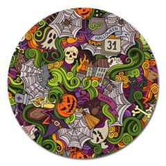 Halloween Doodle Vector Seamless Pattern Magnet 5  (round) by Sobalvarro
