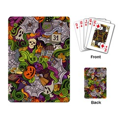 Halloween Doodle Vector Seamless Pattern Playing Cards Single Design (rectangle)