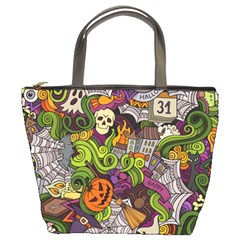 Halloween Doodle Vector Seamless Pattern Bucket Bag by Sobalvarro
