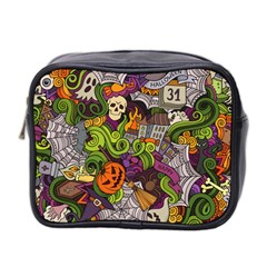 Halloween Doodle Vector Seamless Pattern Mini Toiletries Bag (two Sides) by Sobalvarro