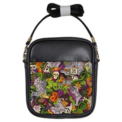 Halloween Doodle Vector Seamless Pattern Girls Sling Bag by Sobalvarro