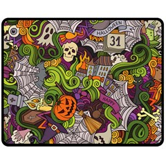 Halloween Doodle Vector Seamless Pattern Fleece Blanket (medium)  by Sobalvarro