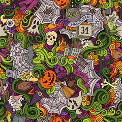 Halloween Doodle Vector Seamless Pattern Magic Photo Cube by Sobalvarro
