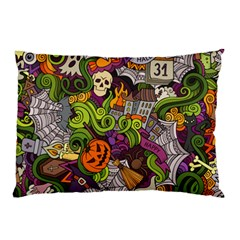 Halloween Doodle Vector Seamless Pattern Pillow Case (two Sides) by Sobalvarro