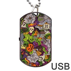 Halloween Doodle Vector Seamless Pattern Dog Tag Usb Flash (one Side) by Sobalvarro