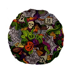 Halloween Doodle Vector Seamless Pattern Standard 15  Premium Round Cushions by Sobalvarro