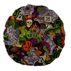 Halloween Doodle Vector Seamless Pattern Large 18  Premium Round Cushions by Sobalvarro