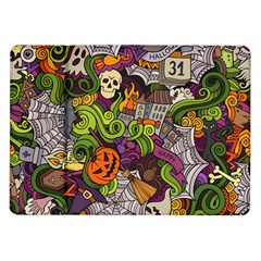 Halloween Doodle Vector Seamless Pattern Samsung Galaxy Tab 10 1  P7500 Flip Case by Sobalvarro