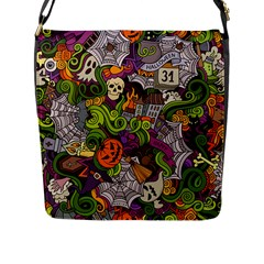 Halloween Doodle Vector Seamless Pattern Flap Closure Messenger Bag (l) by Sobalvarro