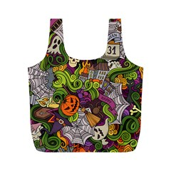 Halloween Doodle Vector Seamless Pattern Full Print Recycle Bag (m) by Sobalvarro