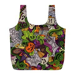 Halloween Doodle Vector Seamless Pattern Full Print Recycle Bag (l) by Sobalvarro