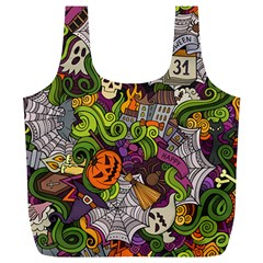 Halloween Doodle Vector Seamless Pattern Full Print Recycle Bag (xl) by Sobalvarro