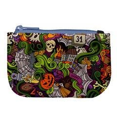 Halloween Doodle Vector Seamless Pattern Large Coin Purse by Sobalvarro