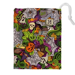 Halloween Doodle Vector Seamless Pattern Drawstring Pouch (2xl) by Sobalvarro