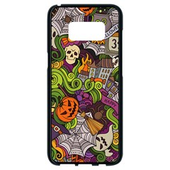 Halloween Doodle Vector Seamless Pattern Samsung Galaxy S8 Black Seamless Case by Sobalvarro